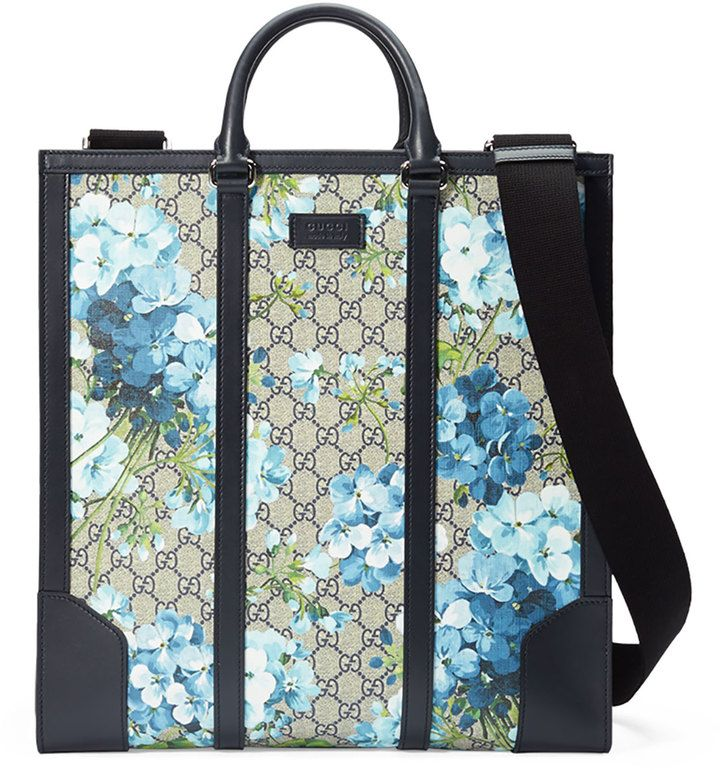 878f16ec83bb Gucci GG Blooms North-South Tote, Blue | Bags in 2019 | Mens leather ...