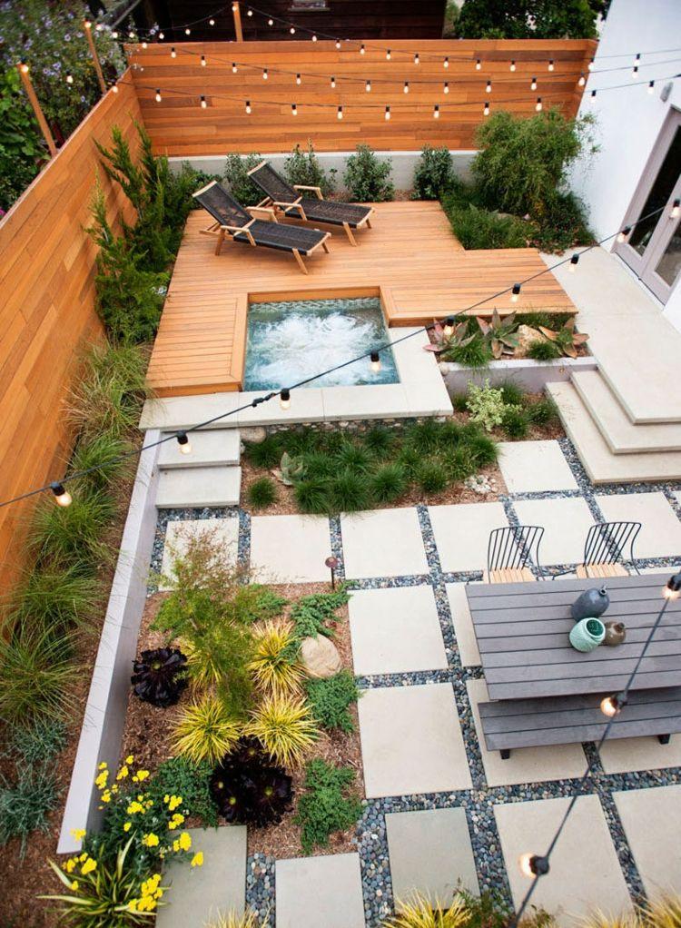 Terrassen Aus Holz Und Mit Trittsteinen Hinterhofideen Garten Gestalten Landschaftsdesign