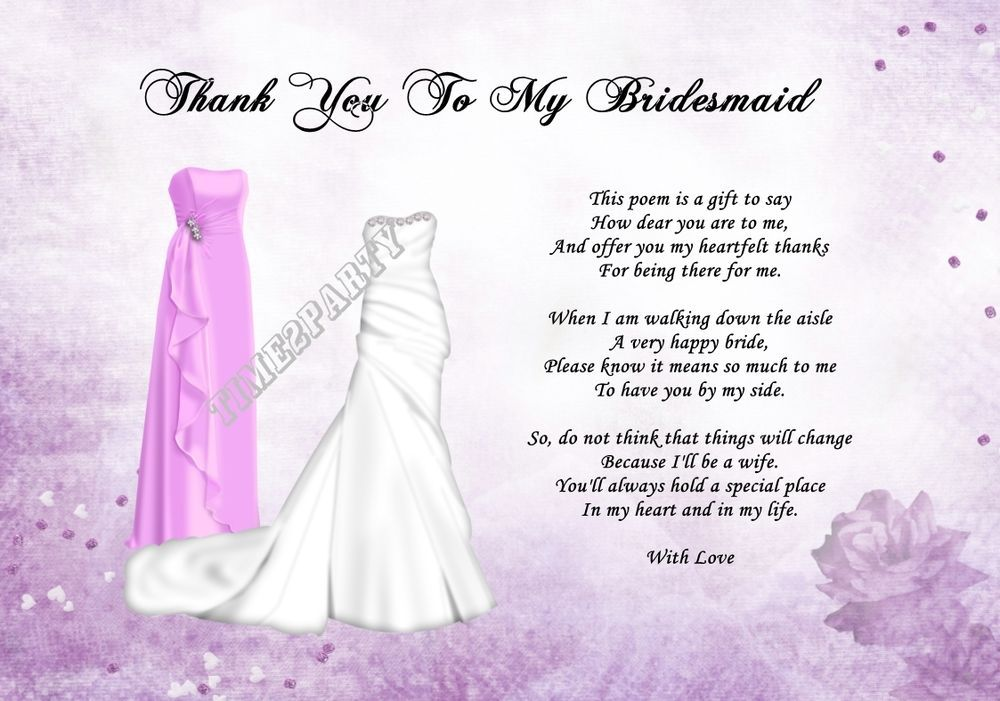 Wedding Gift Thank You Poem : Details about A4 Thank You To My Bridesmaid Poem - Wedding Day Gift ...