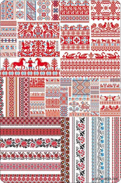 Векторный клипарт - Russian Embroidery Ornament ...