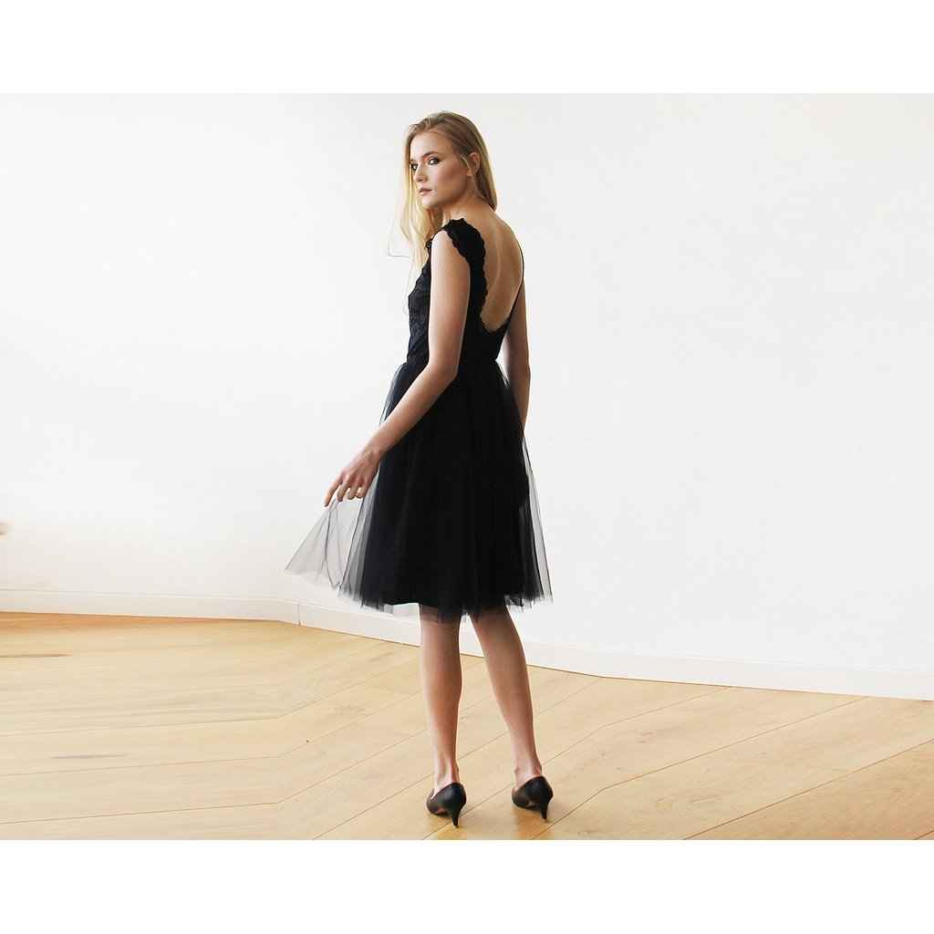 0e552f7699ec Special black lace midi dress, with soft lace and silk-tulle. Short  backless dress , for any occasion or party. Trendy open-back design feature  a classic ...