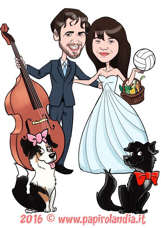 5ac9d7eda5b8 Caricature sposi con amici a quattro zampe