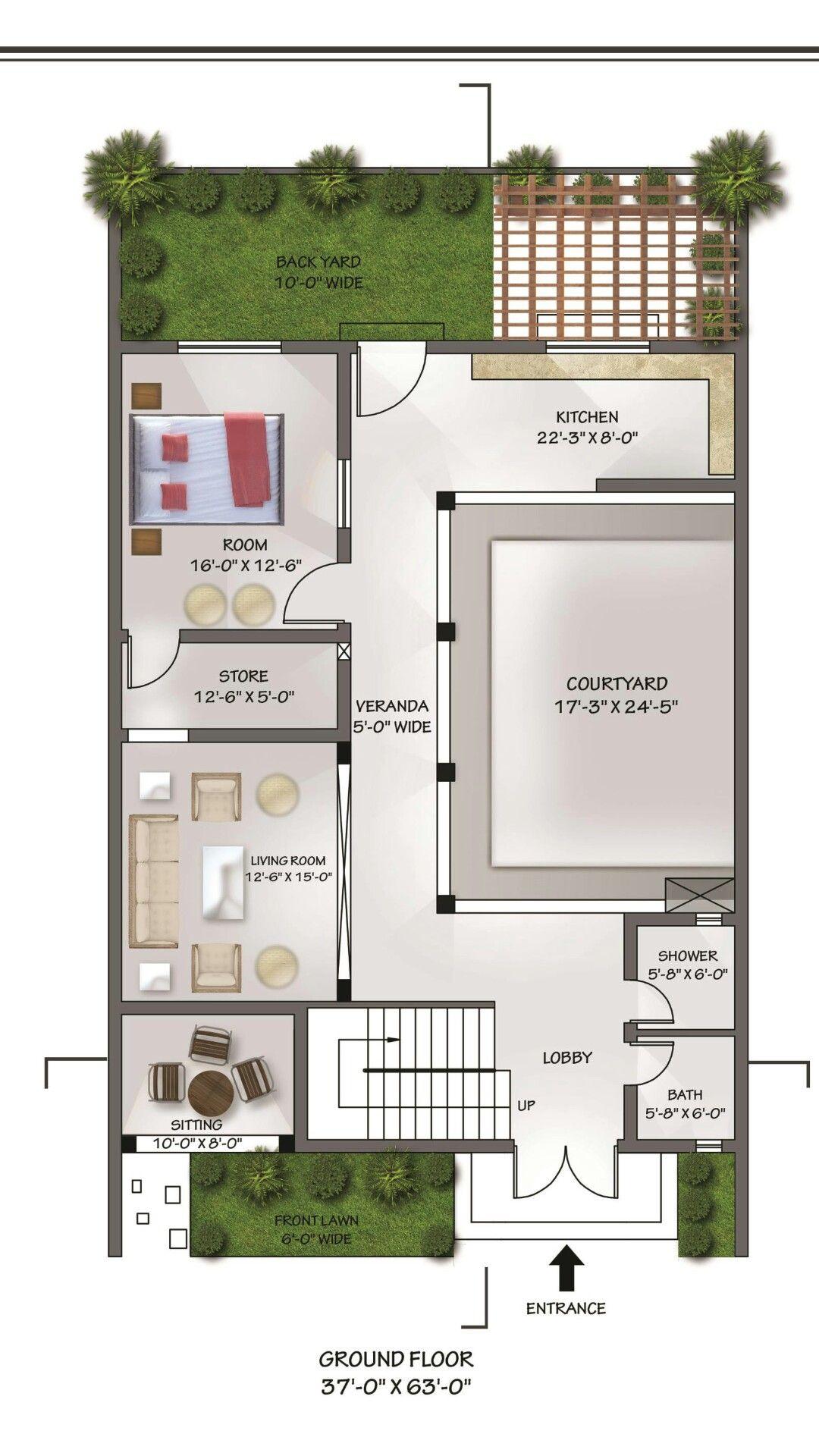37 X 63 Ground Floor Plan Floor Plans House Plans