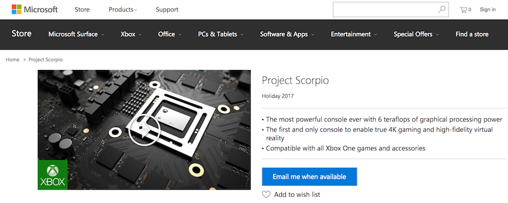 PreOrder Project Scorpio Page Goes Live On Microsoft