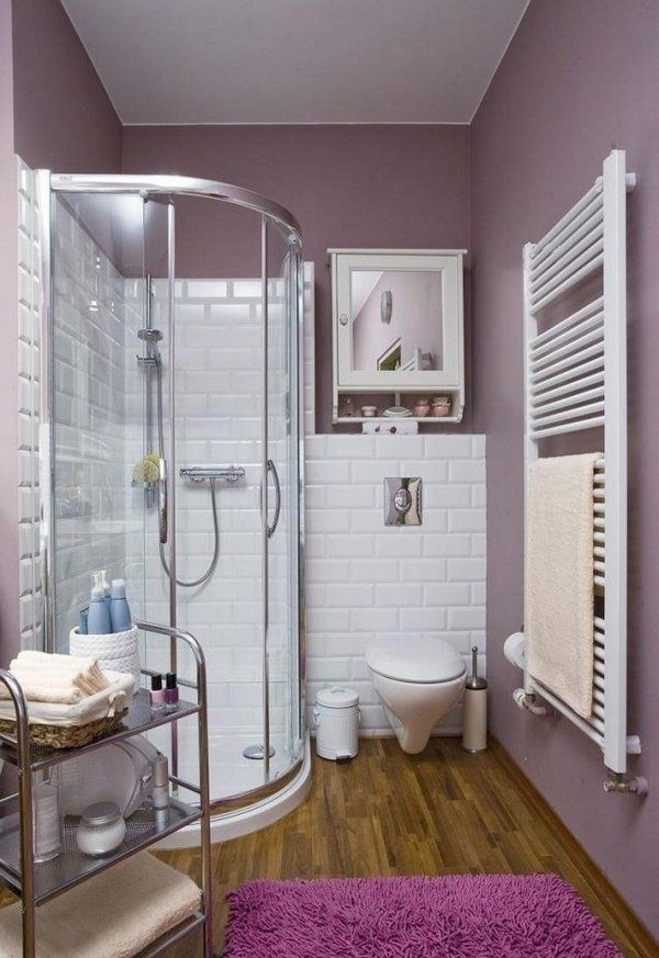 Small Bathroom Ideas Corner Shower Cabin White Wall Tiles Purple Wall Color  Wood Flooring