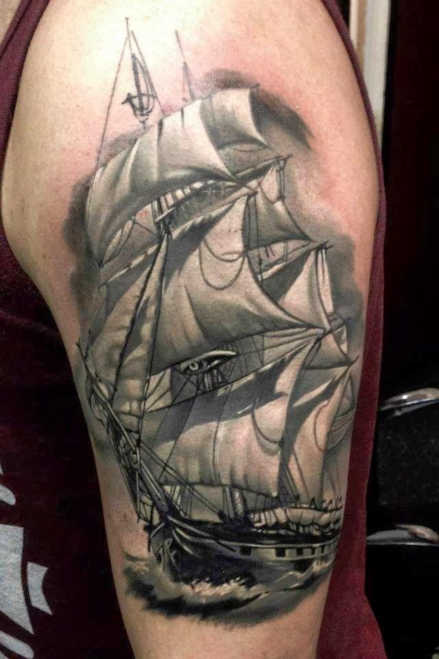 pirate ship tattoo sleeve tattoo studio location one day pinterest ship tattoo. Black Bedroom Furniture Sets. Home Design Ideas