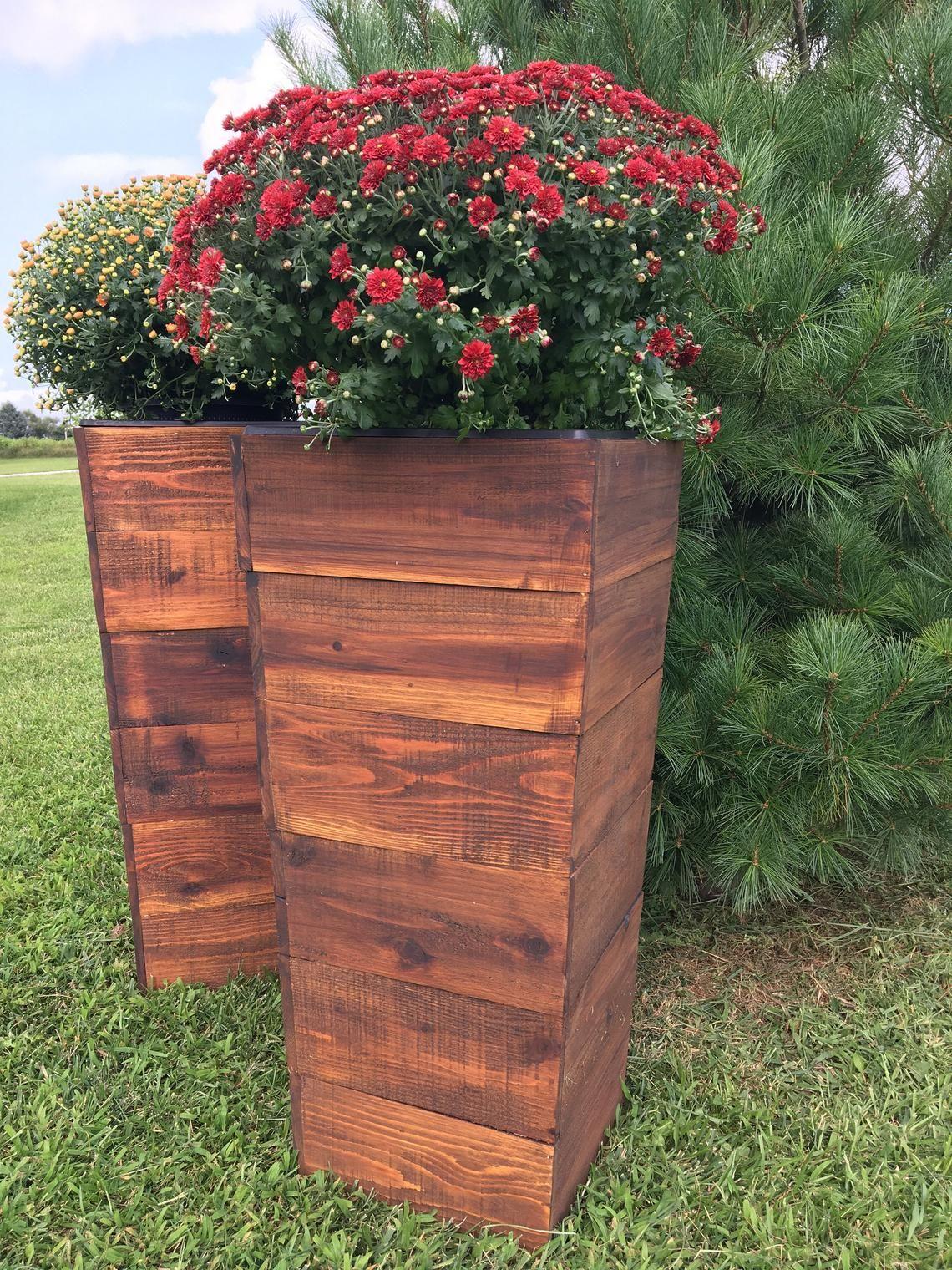 36 Tall Cedar Wood Planter Mocha Patio Planter Etsy Large Outdoor Planters Rustic Planters Patio Planters