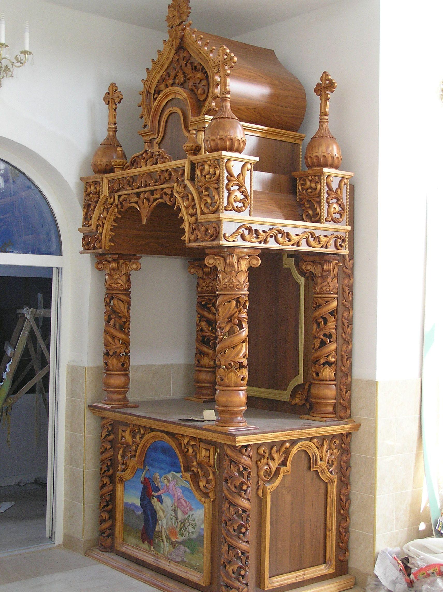 Bavas Wood Works Pooja Room Door Frame And Door Designs: Жертвенник из дерева,лакированный