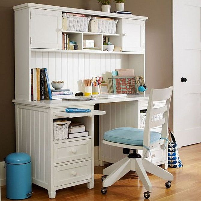 girls desk study equipped with storage shelves for teenage girls