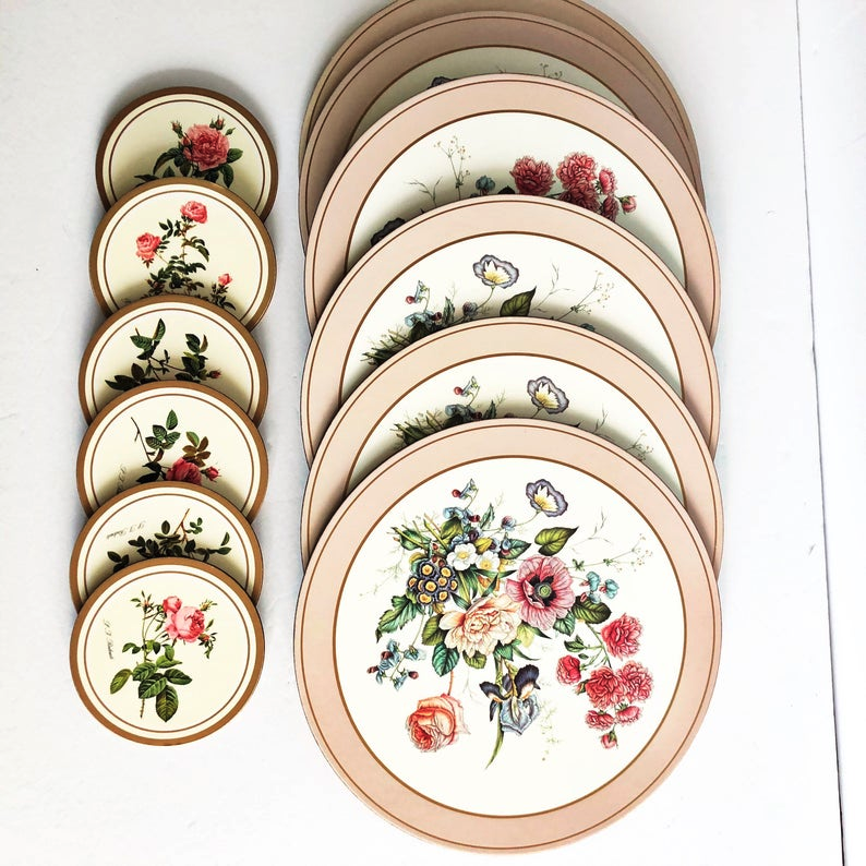 Vintage Pimpernel Placemats And Coasters Floral Roses Original Etsy Floral Placemats Placemats Shabby Chic Cottage