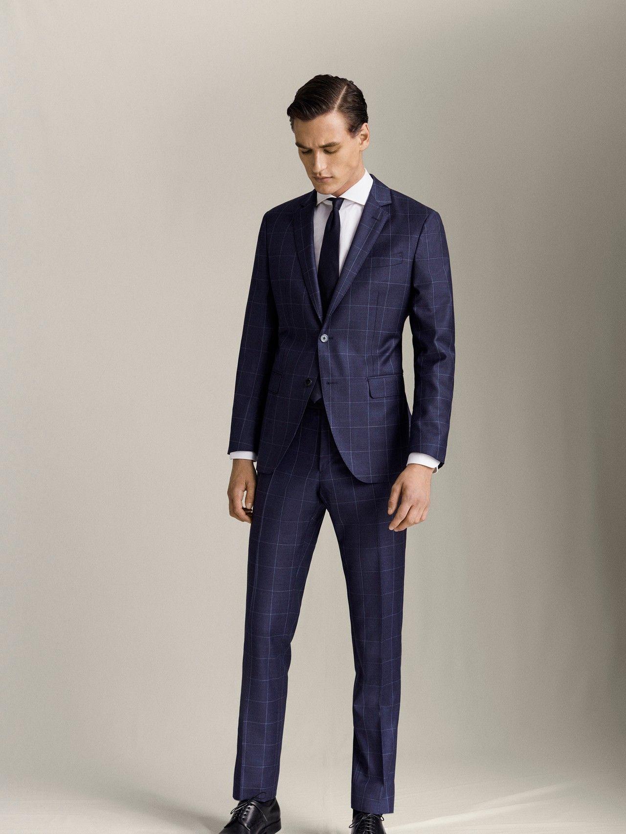 Massimo Dutti Hombre Pantalon Cuadros Lana S 110 S Slim Fit Azul Marino 48 En 2020 Massimo Dutti Hombre Azul Marino Pantalones