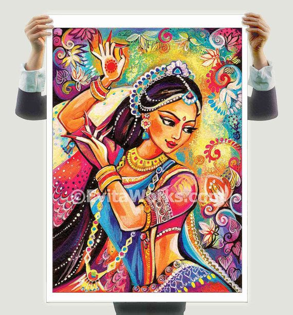 Bollywood Dance Indian Woman Indian Decor Indian Classical Etsy Dance Paintings Dance Art Indian Paintings