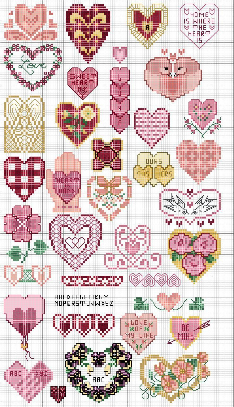 Cross stitch pattern, hearts.