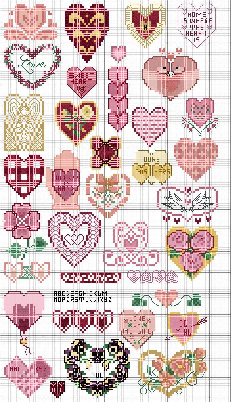 Cross stitch pattern, hearts.