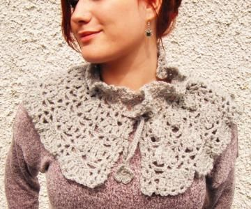 Pale Grey Crochet Capelet by Corcra for $48.35  ~~  This is beautiful!  You need to check out her shop!!