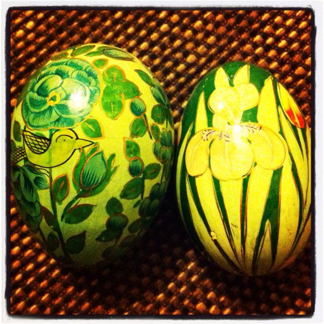 Wooden painted eggs