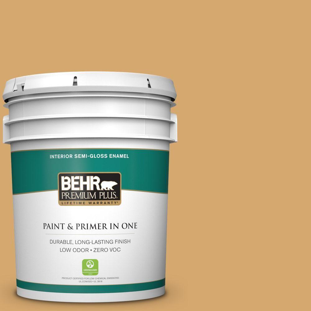 BEHR Premium Plus 5-gal. #icc-70 Flower Field Zero VOC Semi-Gloss Enamel Interior Paint