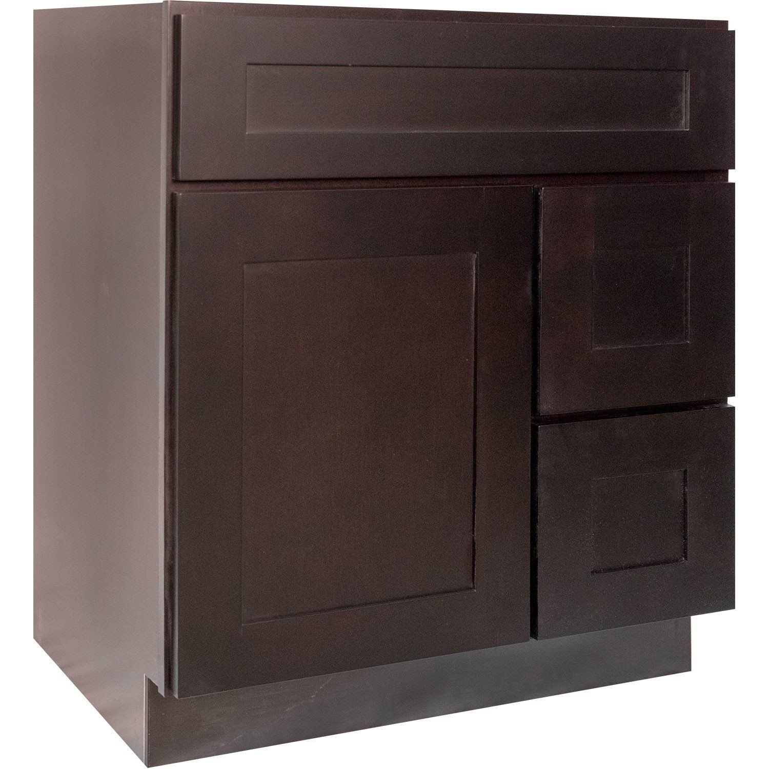 Pic Of  Inch Bathroom Vanity Single Sink Cabinet in Shaker Espresso Dark Brown with u