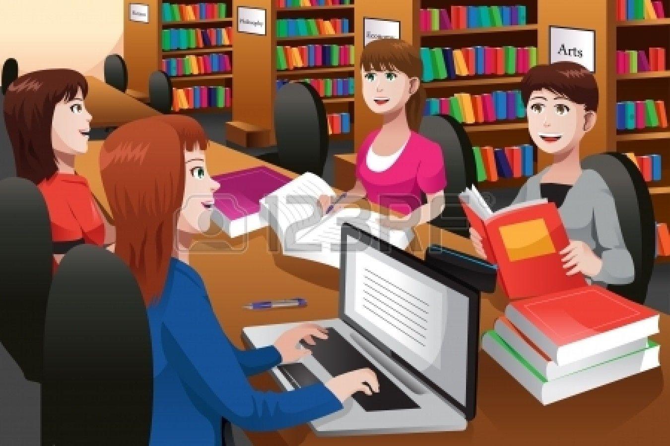 Illustration D Etudiants Etudiant Dans Une Bibliotheque