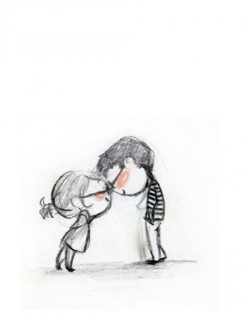 Cute Boyfriend Girlfriend Couple Drawing Illustration Print Illustration Sketches
