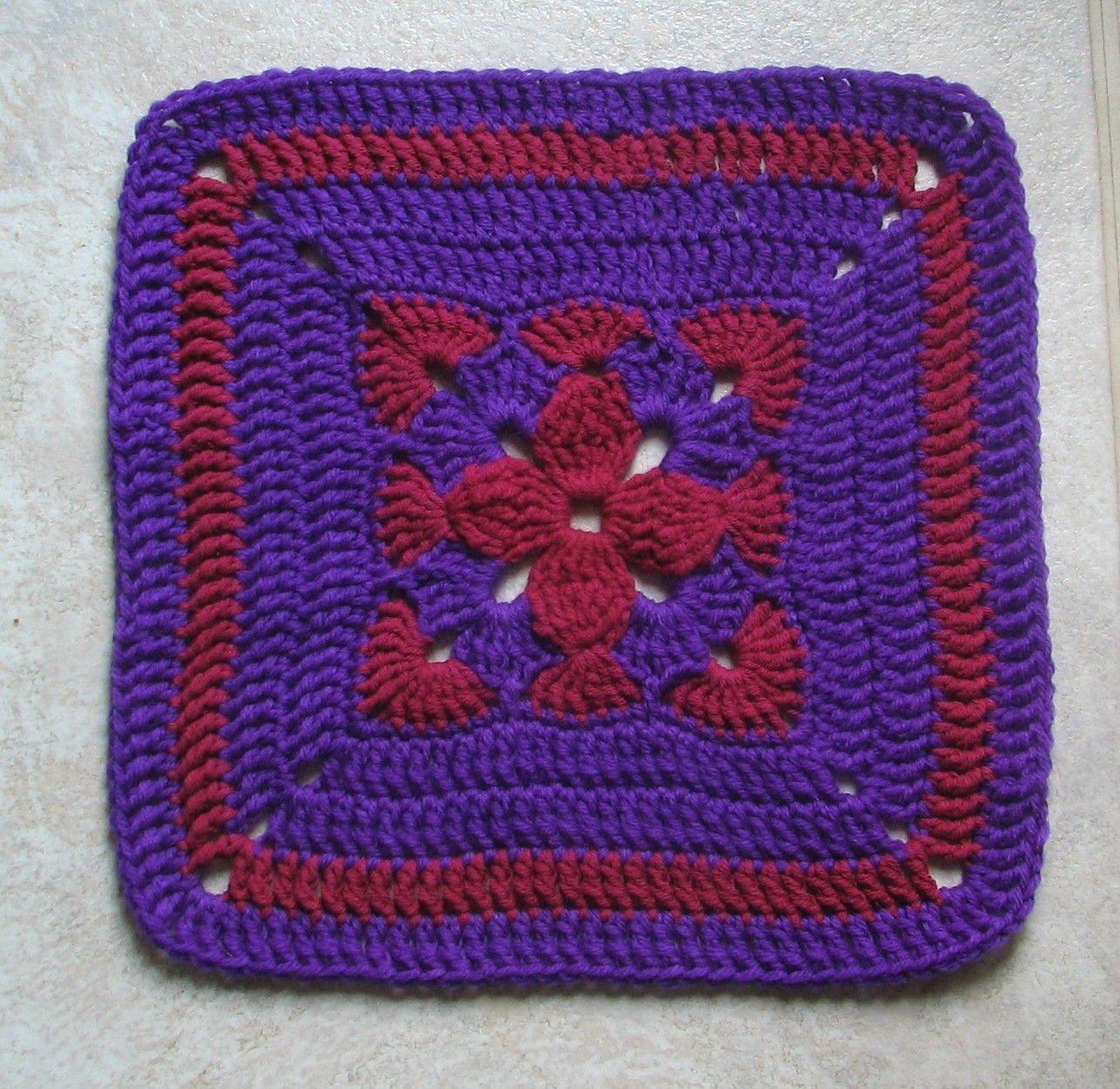 Afghan Square - free crochet pattern | Cuadritos en crochet ...