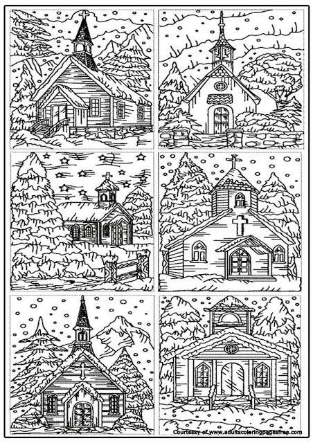Church In Winter Adults Architectures Coloring Pages