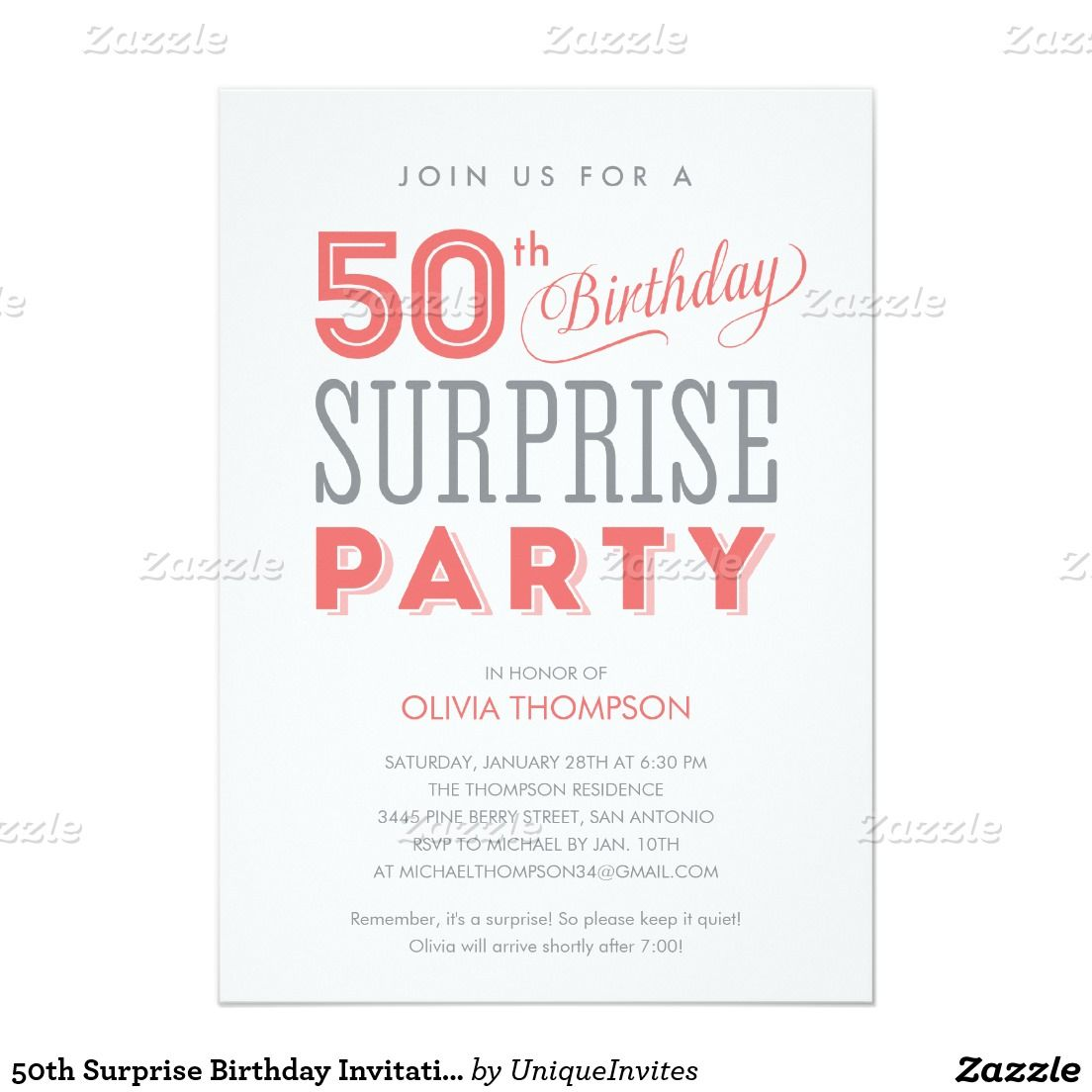 Get FREE Template Surprise 50th Birthday Party Invitations Templates