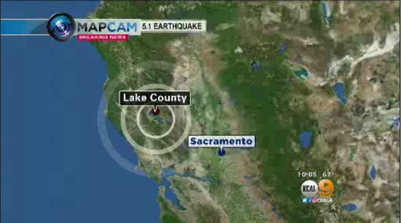 5.1  quake was centered in Lake County, east of Sacramento. August 9, 2016