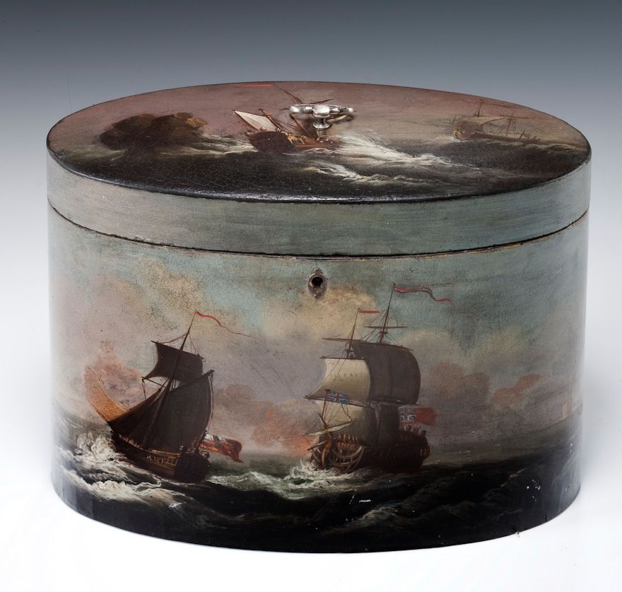 Antique Henry Clay papier-mache two compartment oval tea caddy