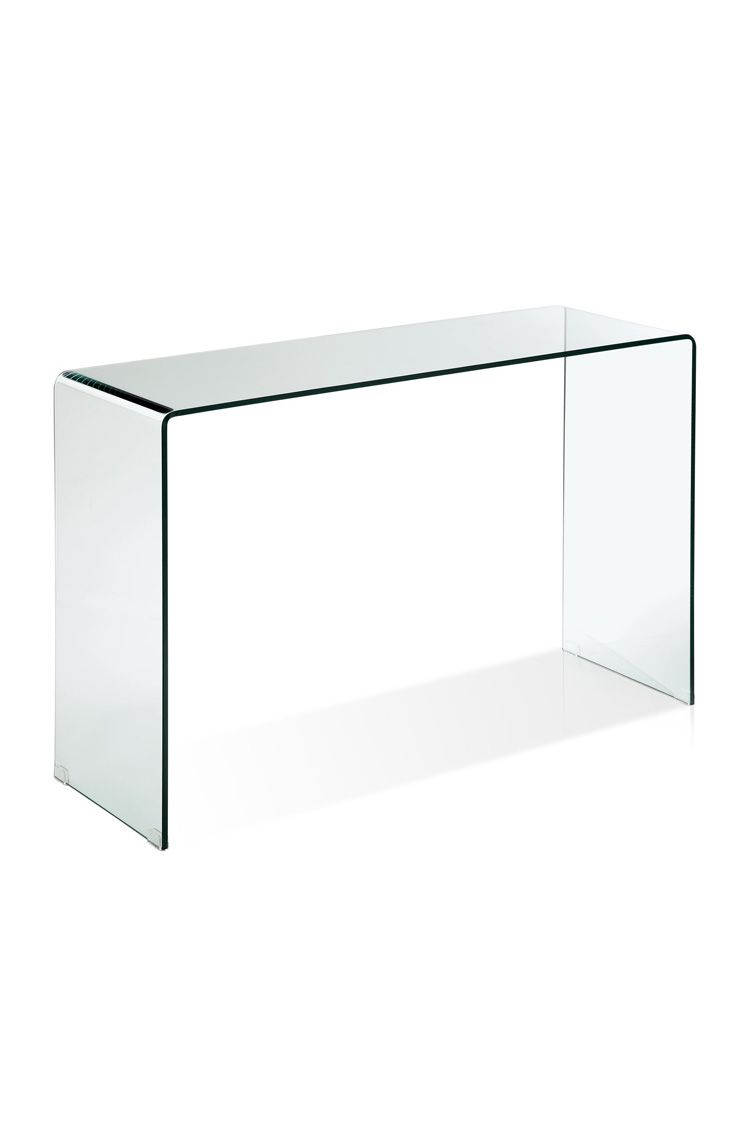 A Contemporary Bent Glass Console Table In The Waterfall Style Made From Continuous Piece Of 12m Glass Console Table Furniture Design Modern Condo Decorating [ 1139 x 750 Pixel ]