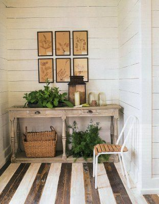 love this painted wood floor + weathered console