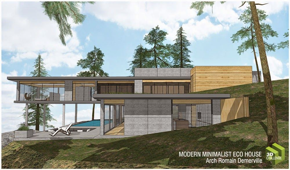 3 Minimalist Modern Eco House Right Side View Dream House Sketch Modern Architecture Eco House