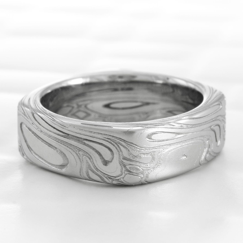 TWISTED BURL | Square Damascus Woodgrain Ring | Damascus steel ...