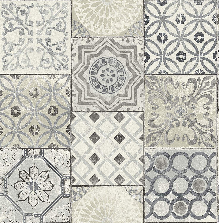 Moroccan Tile Wallpaper In Blue Gray Cream Amazon Com Patchwork Tiles Moroccan Tile Tile Wallpaper