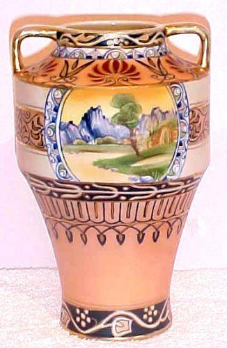 Antique Hand Painted Nippon Old Noritake Scenic Vase Hidden Door