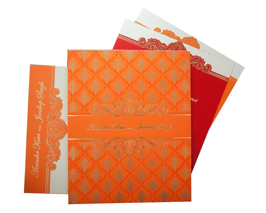 indian wedding hindu invitations%0A Indian Wedding Invite in Orange with motifs in Golden