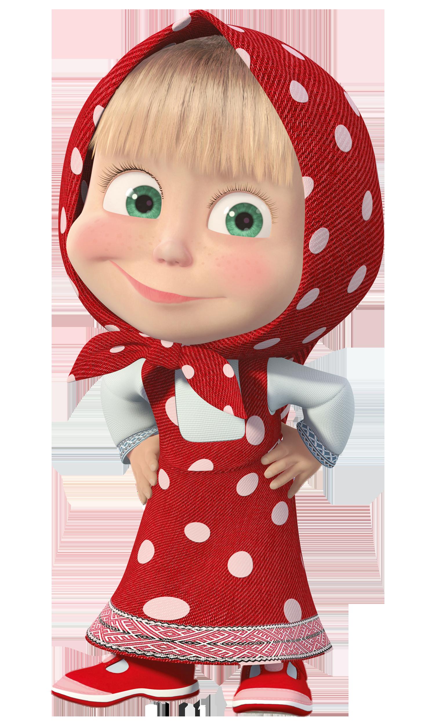 Masha with Red Dress Transparent PNG Clip Art Image