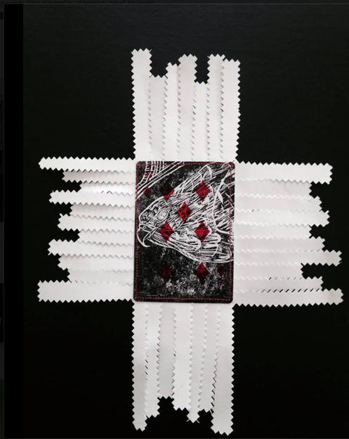 Charlotte Graham, Cardshark Manu Series,  Kahu/Native Bird Lino on card stitched plastic film paper, 2014  http://www.charlottegraham.co.nz/shop/