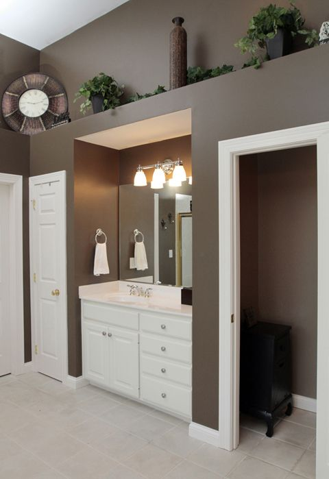 Pin By At Home In Louisville Real Est On Bathrooms Ledge Decor High Shelf Decorating Home Decor