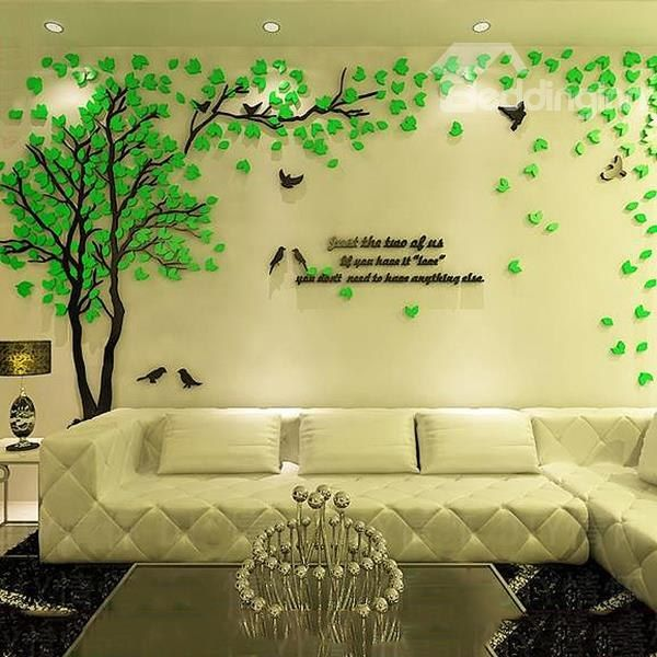 9bf149d5c43 Creative Green Tree and Bird Pattern Crystal Acrylic 3D Wall Stickers