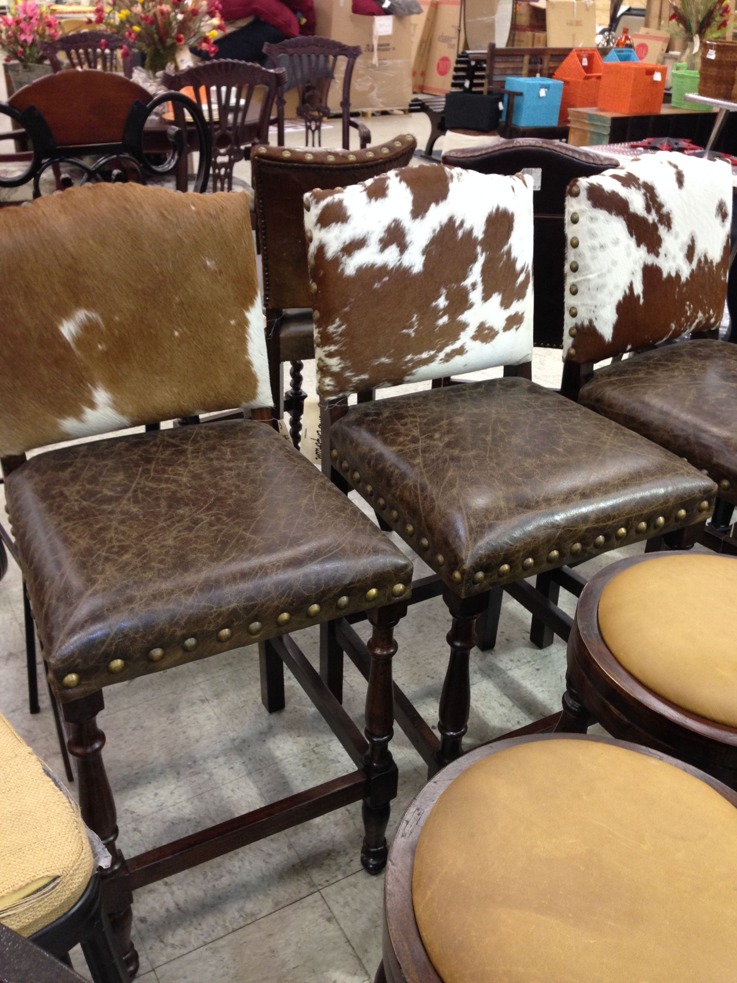 Enchanting Furniture Unique Swivel Cowhide Bar Stools With Chromed