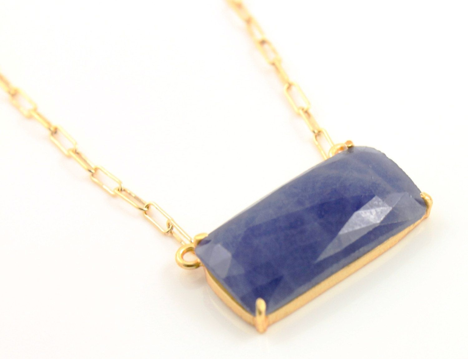 Natural Rose Cut Blue Sapphire Handcrafted & Prong Set in Sterling Silver w/ 24k Gold Vermeil, Statement Necklace, (BKC/7042) by Beadspoint on Etsy