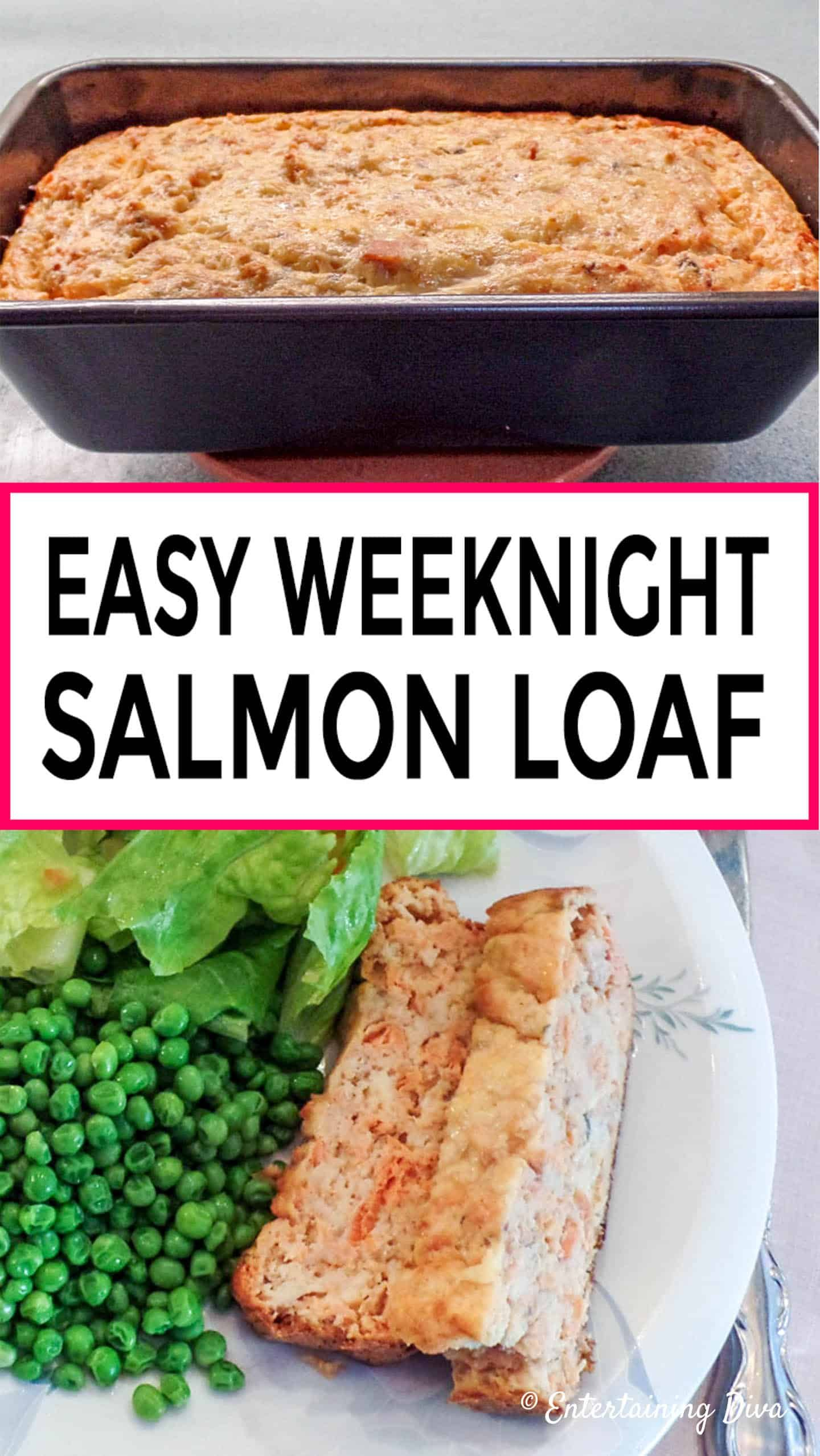 This easy salmon loaf recipe made with crackers and canned salmon is perfect for those weeknight meals when you don't have much time (or just don't feel like cooking). You'll have dinner on the table in less than an hour. #fromhousetohome #salmonloaf #salmonrecipe #dinner #easydinnerrecipe #recipe #cannedsalmon #fastmeals #easymeals #maincourse #seafood #recipes #salmonrecipes