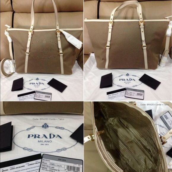 fdc9b6fb6fb9 NWT Prada shopping logo jacquard tote br4253 100% authentic Prada jacquard  tote in white color