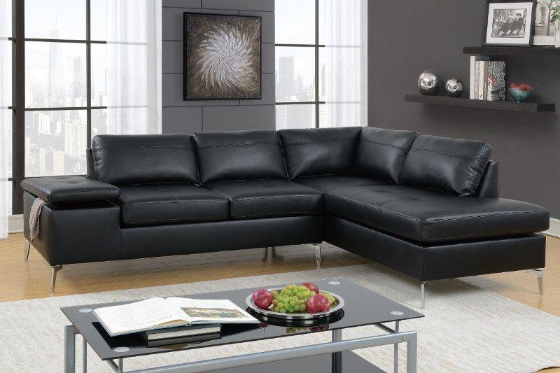 Poundex F6519 2 Pc Madison Ii Black Faux Leather Sectional Sofa