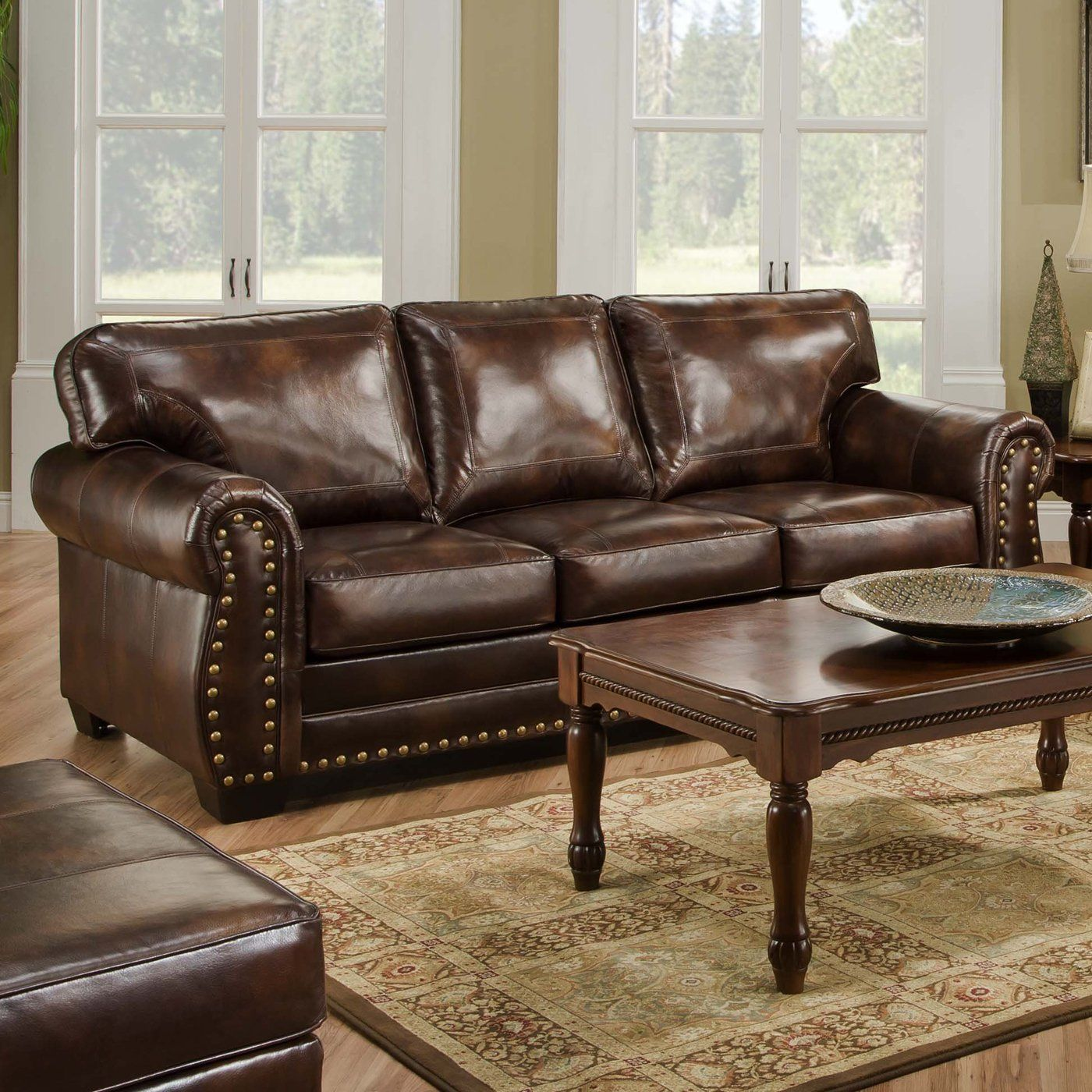leather sleeper sofa queen size w nailhead trim Living Room