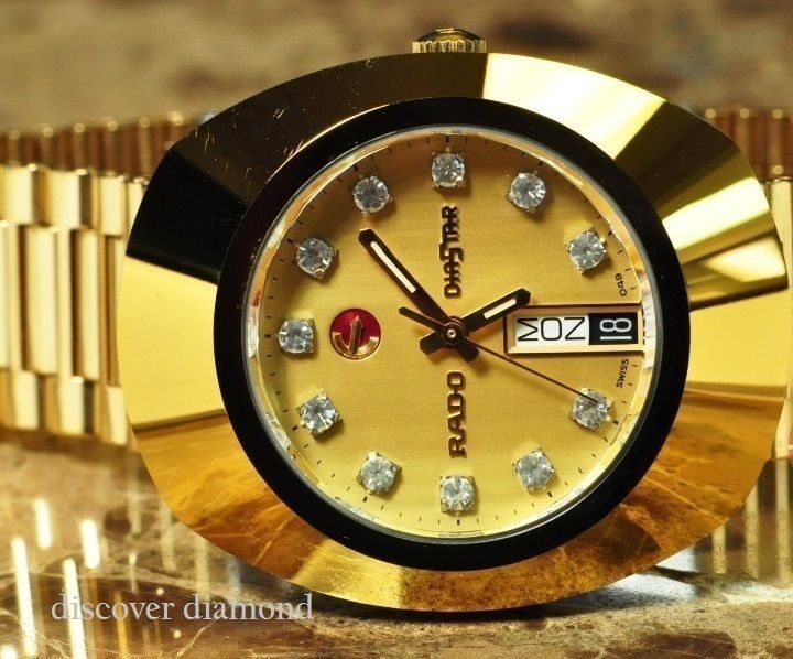 Rado Gold Diastar Automatic Swiss Made Man S Genuine Diamonds 18k Gold Plating Radogolddiastar Dress Rado Gold For Sale Swiss Made