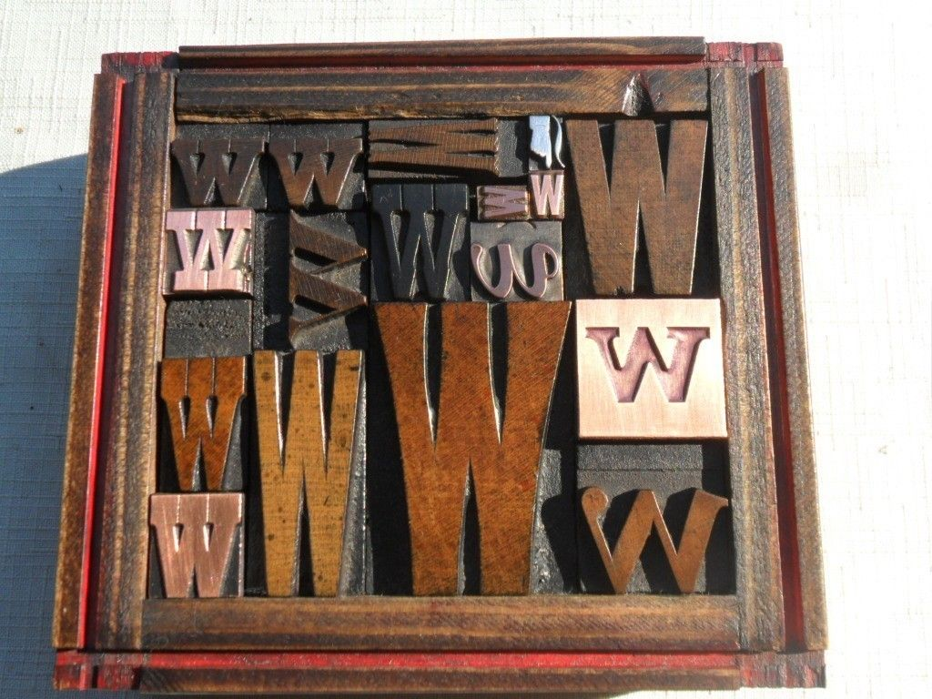 Graphic Design All Letter W Old Letterpress Printing Type Wood