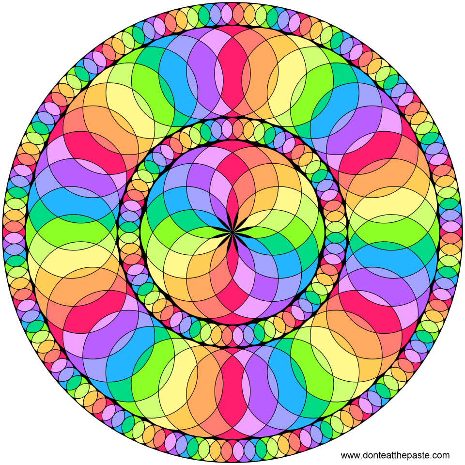 circles color spectrum mandala blank version available to color - Pretty Pictures To Color