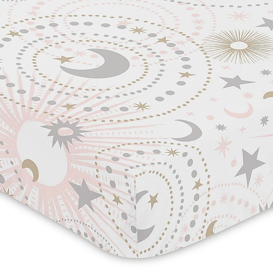 Sweet Jojo Designs Celestial Fitted Crib Sheet In Pink/gold